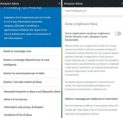 come spegnere Alexa impostazioni di privacy