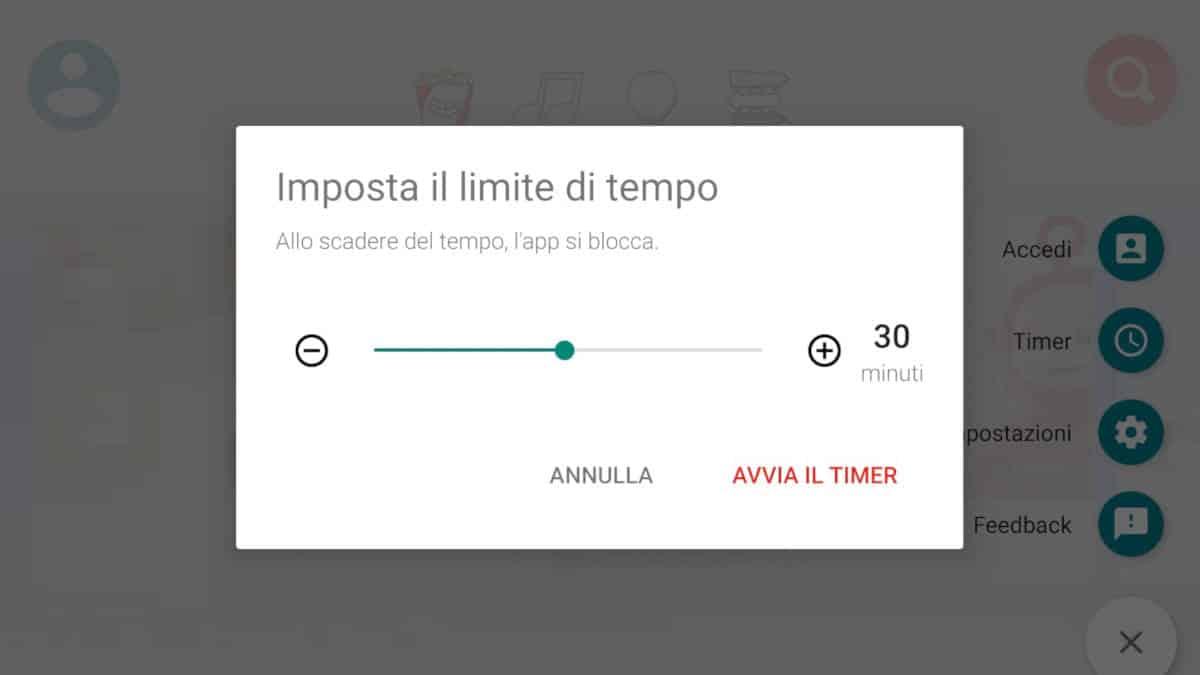 tempo di utilizzo del cellulare app YT Kids timer