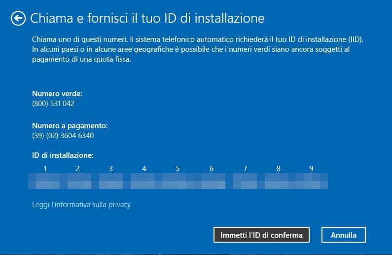 come attivare Windows 10 ID installazione