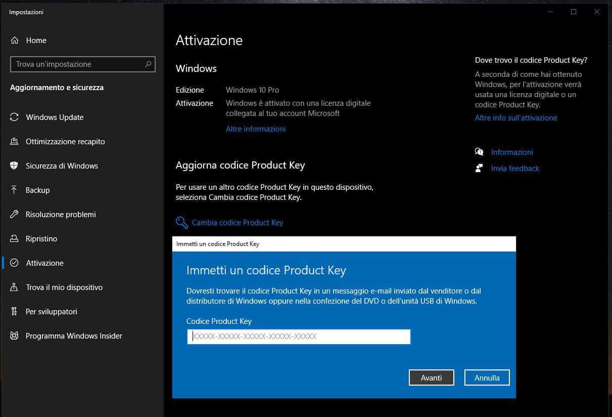 come attivare Windows 10 schermata di inserimento Product Key