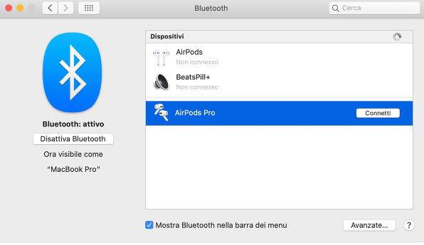 come collegare le AirPods menu Bluetooth Mac