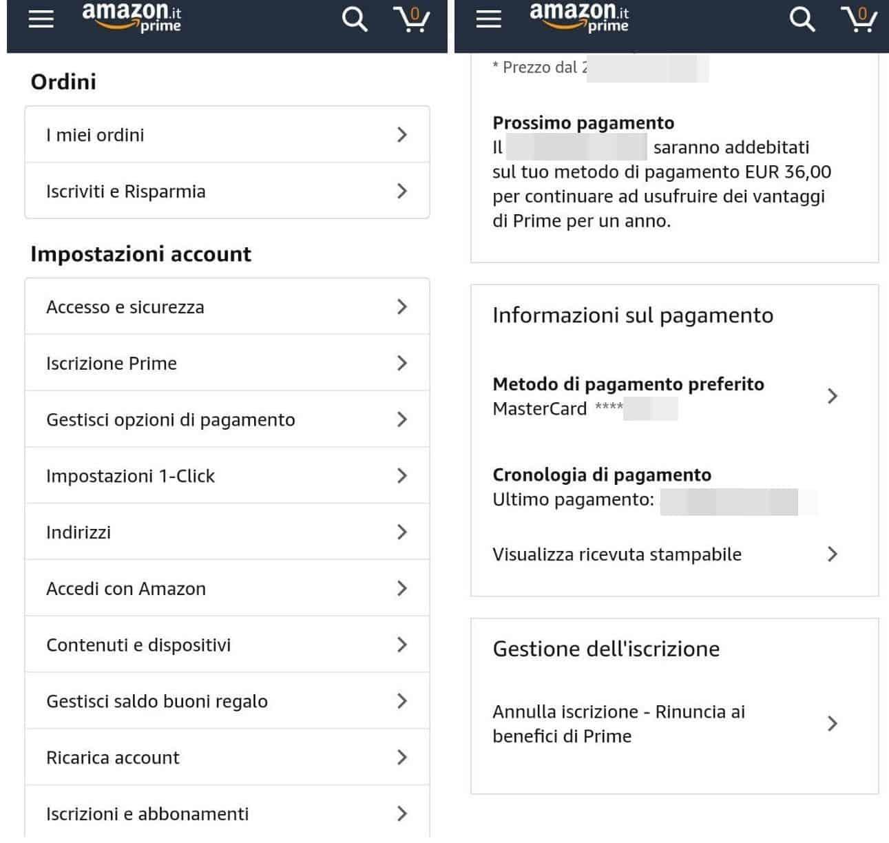 come disattivare Amazon Prime da app