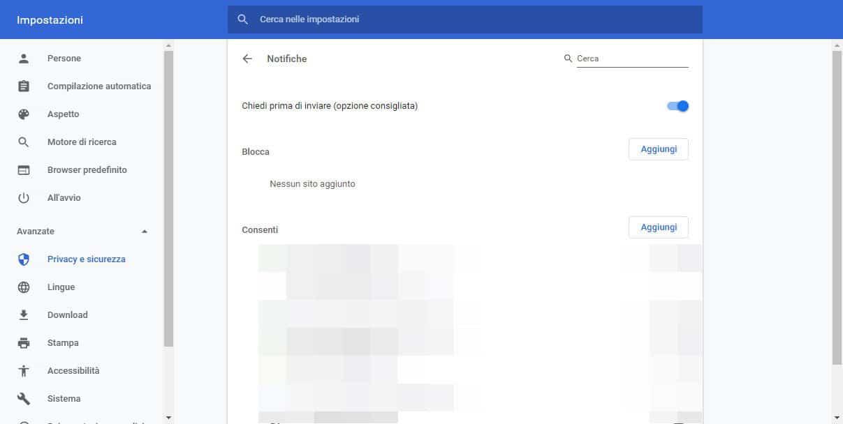 come disattivare le notifiche di Chrome PC