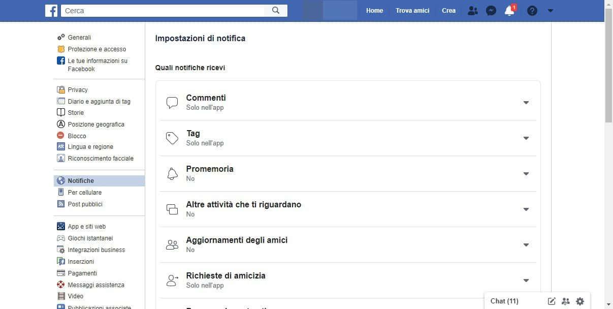 come disattivare le notifiche di Chrome impostazioni Facebook