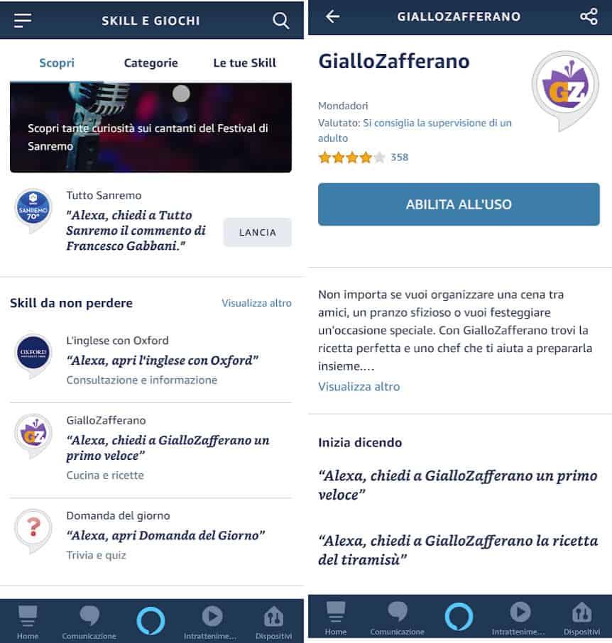 skill Alexa abilitazione tramite app esempio GialloZafferano