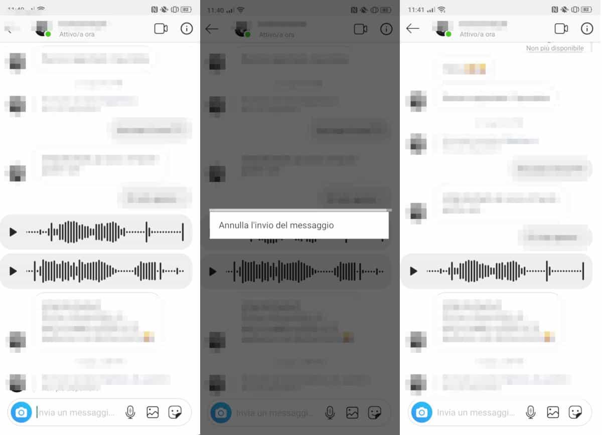 cancellare i messaggi da Instagram note vocali
