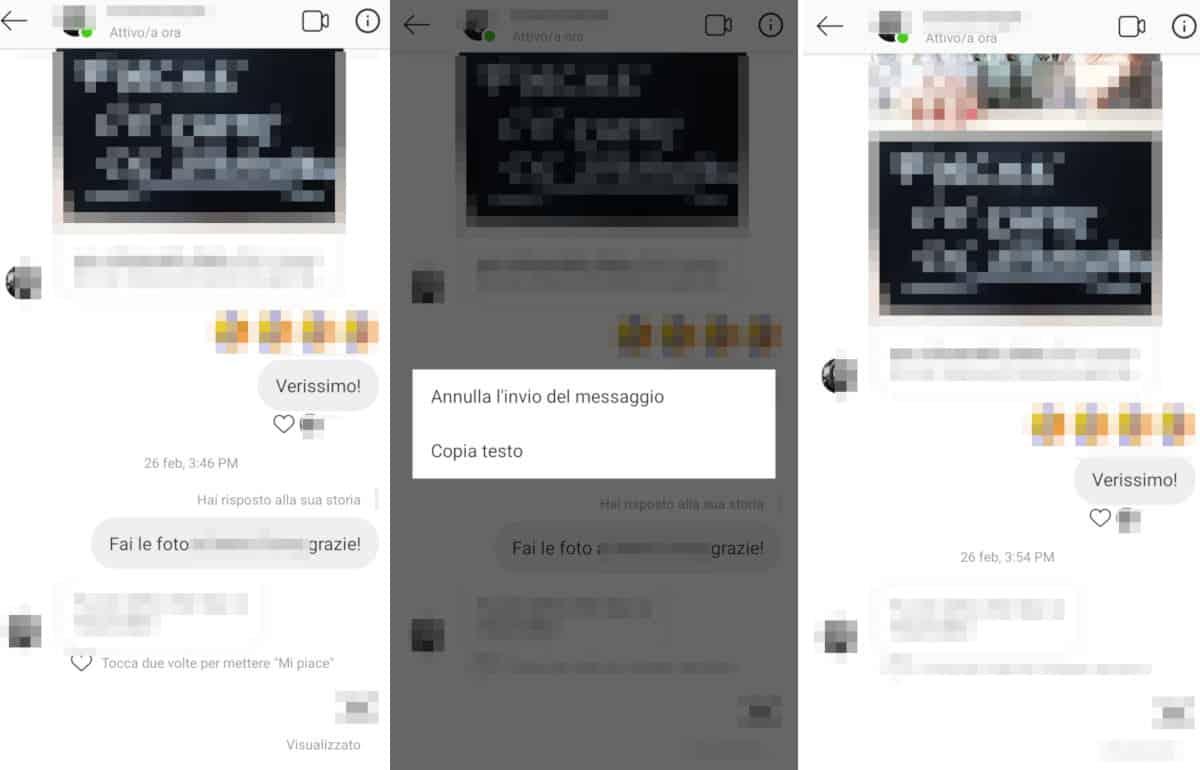 cancellare i messaggi da Instagram singoli