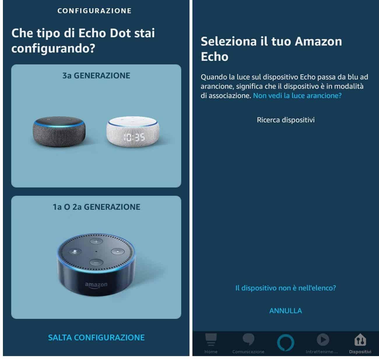 come cambiare lingua ad Alexa configurazione iniziale Echo
