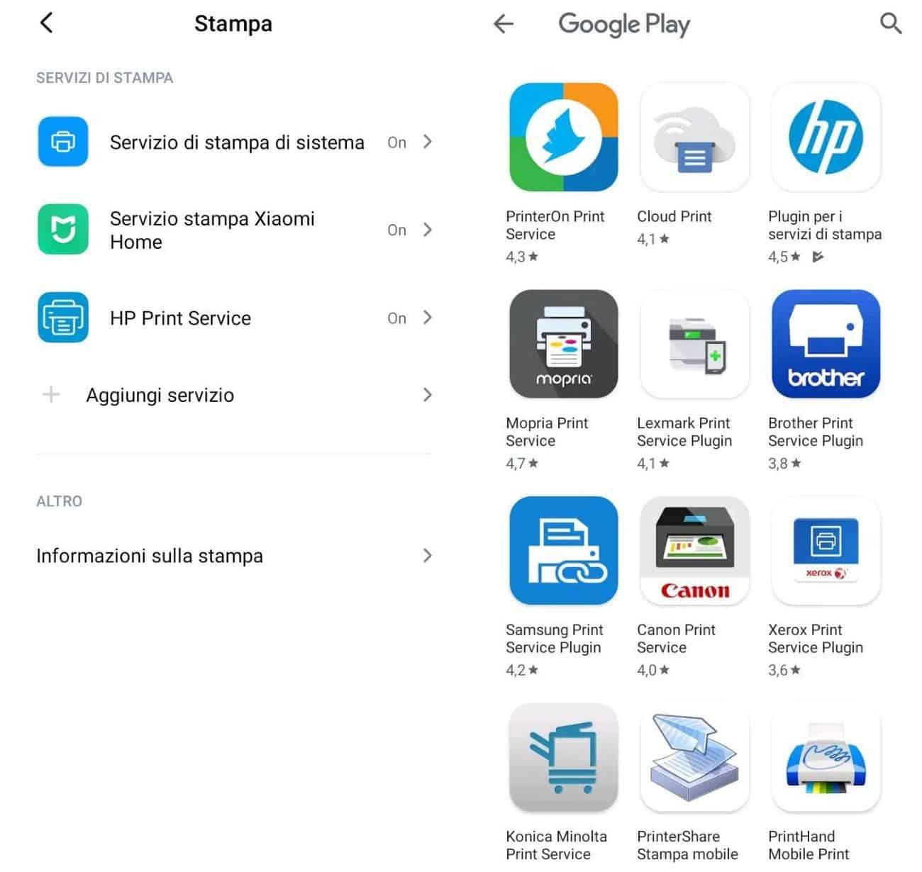 come collegare una stampante Wi-Fi Android esempio Xiaomi