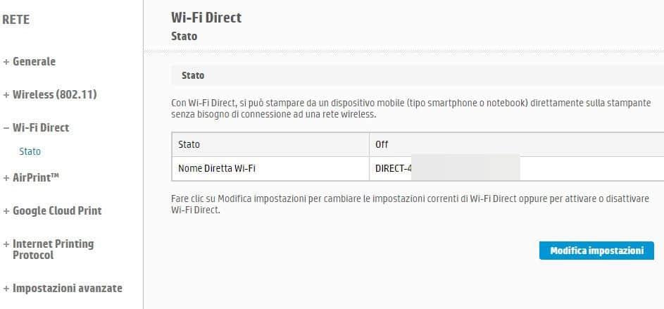 come collegare una stampante Wi-Fi tramite Wi-Fi Direct