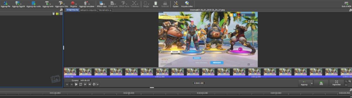 come fare i video velocizzati su Instagram software VideoPad frame