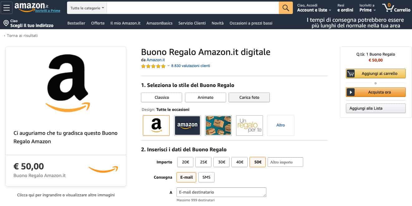 come fare la spesa su Amazon esempio buono digitale