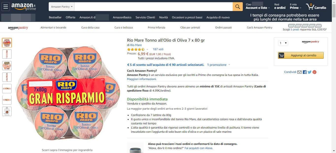 come fare la spesa su Amazon esempio scheda prodotto