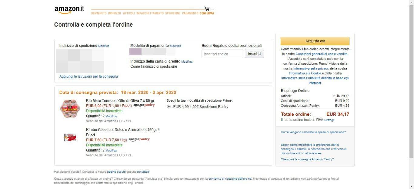 come fare la spesa su Amazon pagamento