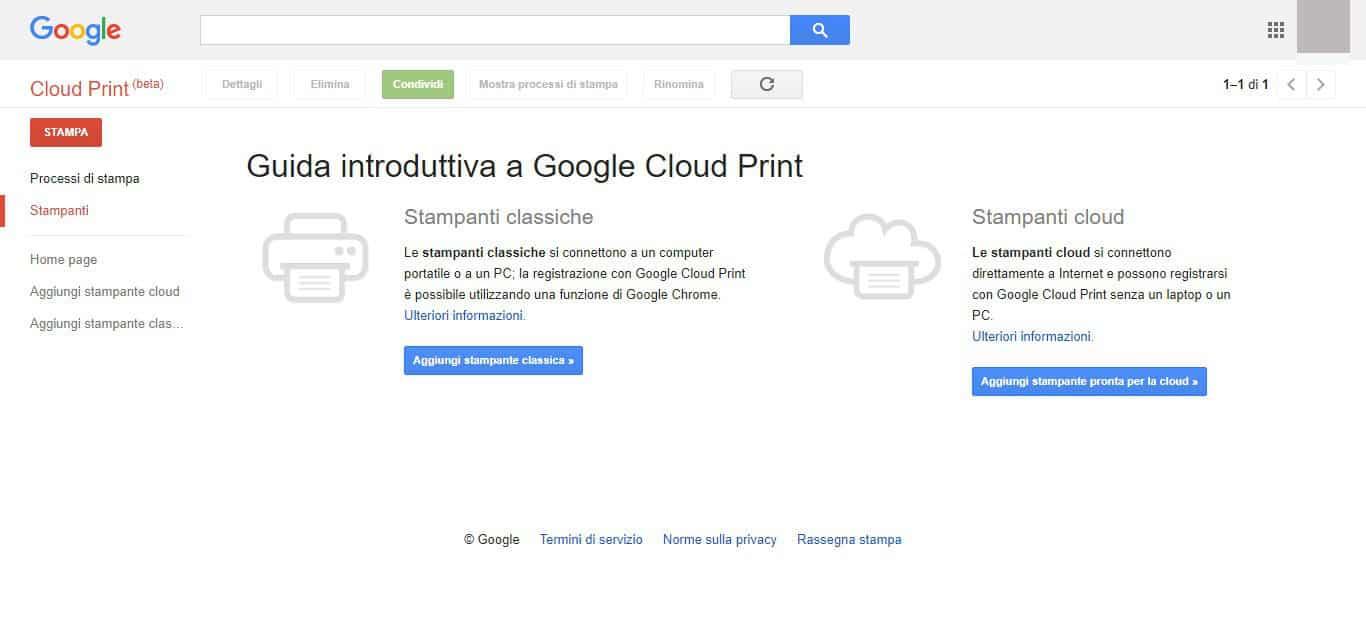come stampare senza stampante Google Cloud Print