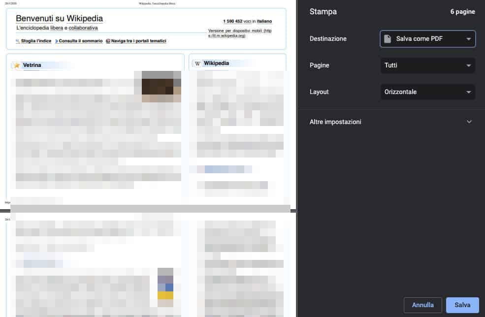 come stampare senza stampante salvataggio PDF Chrome esempio Wikipedia