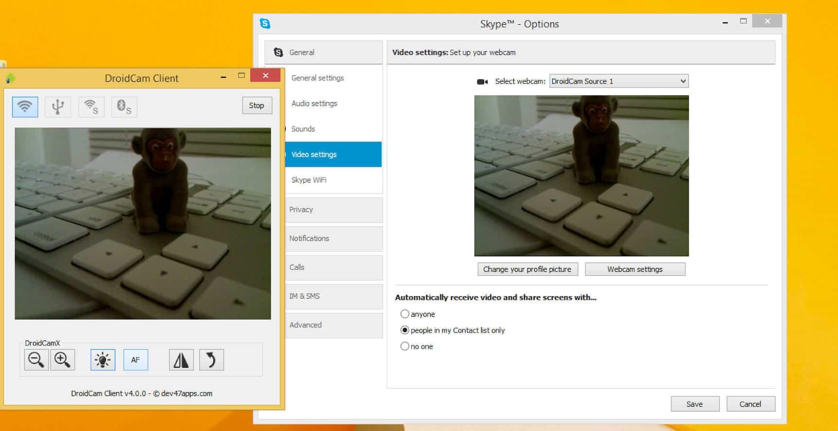 come usare lo smartphone come webcam app DroidCam