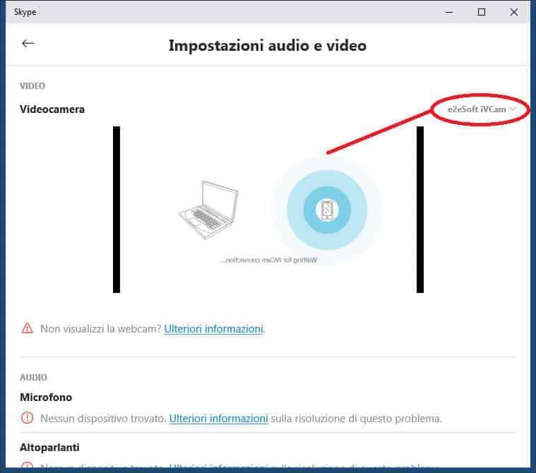 come usare lo smartphone come webcam con Skype
