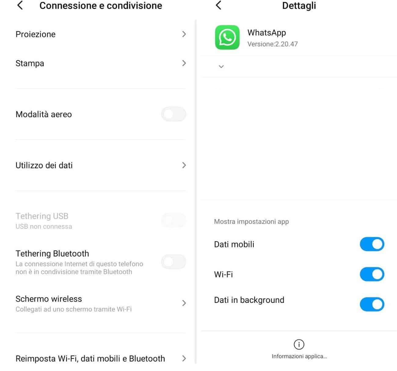 consumo di WhatsApp utilizzo dati Android