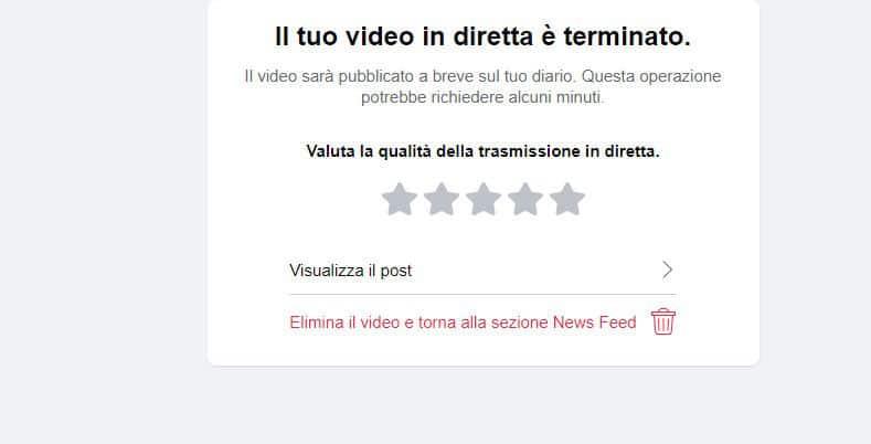 come fare una diretta Facebook opzione Visualizza il post