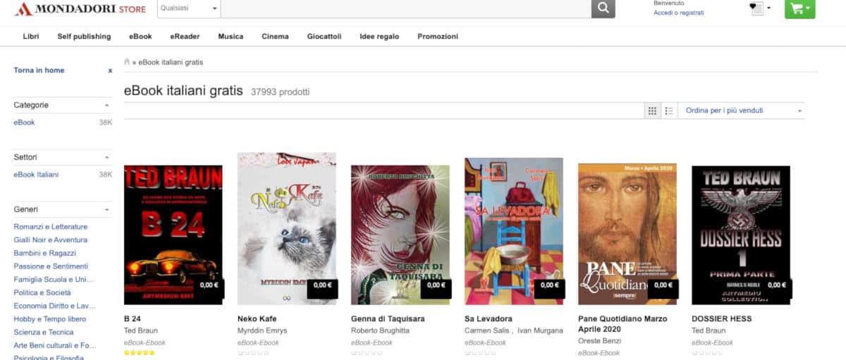 come leggere libri online Mondadori Store