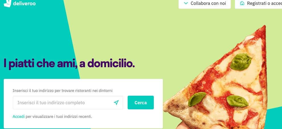 come ordinare cibo online Deliveroo