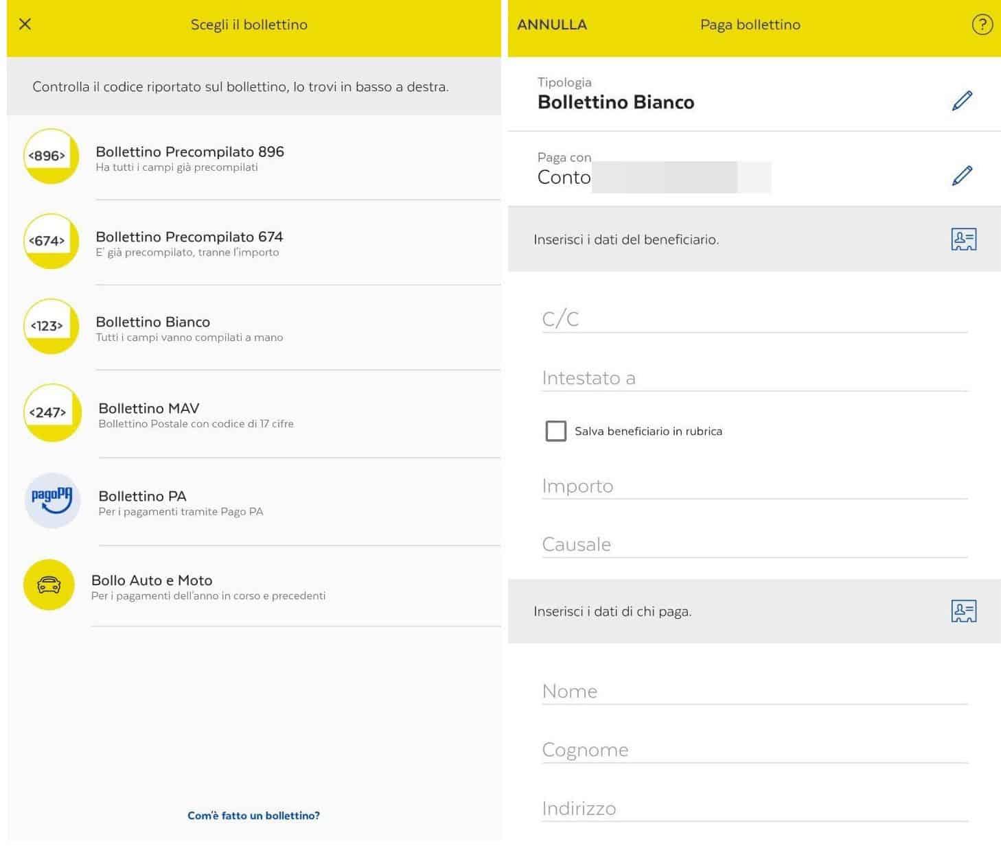 come pagare le bollette online app BancoPosta