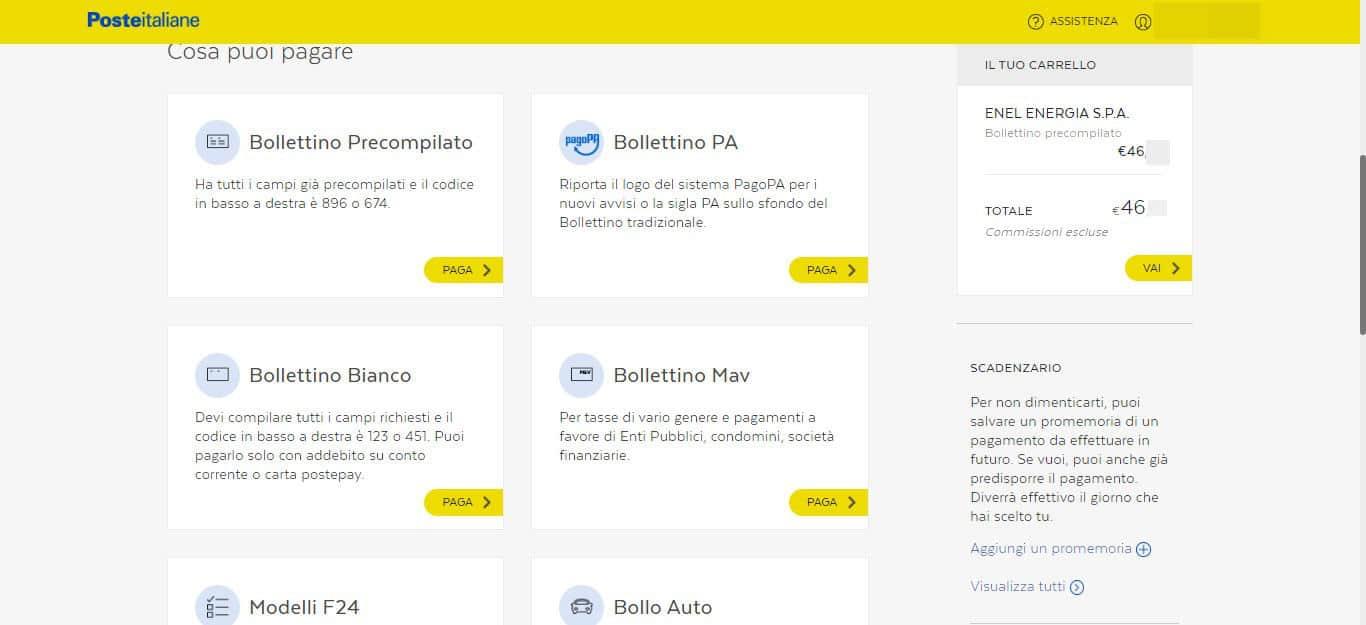 come pagare le bollette online sito web Poste Italiane