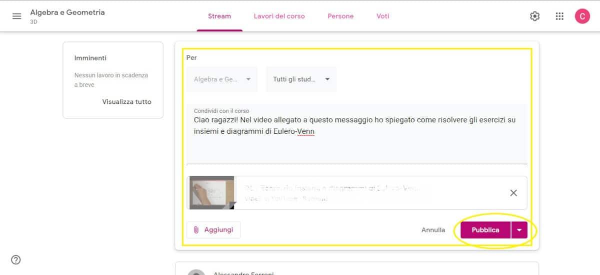 come registrare una lezione per studenti su PC pubblicazione su Classroom