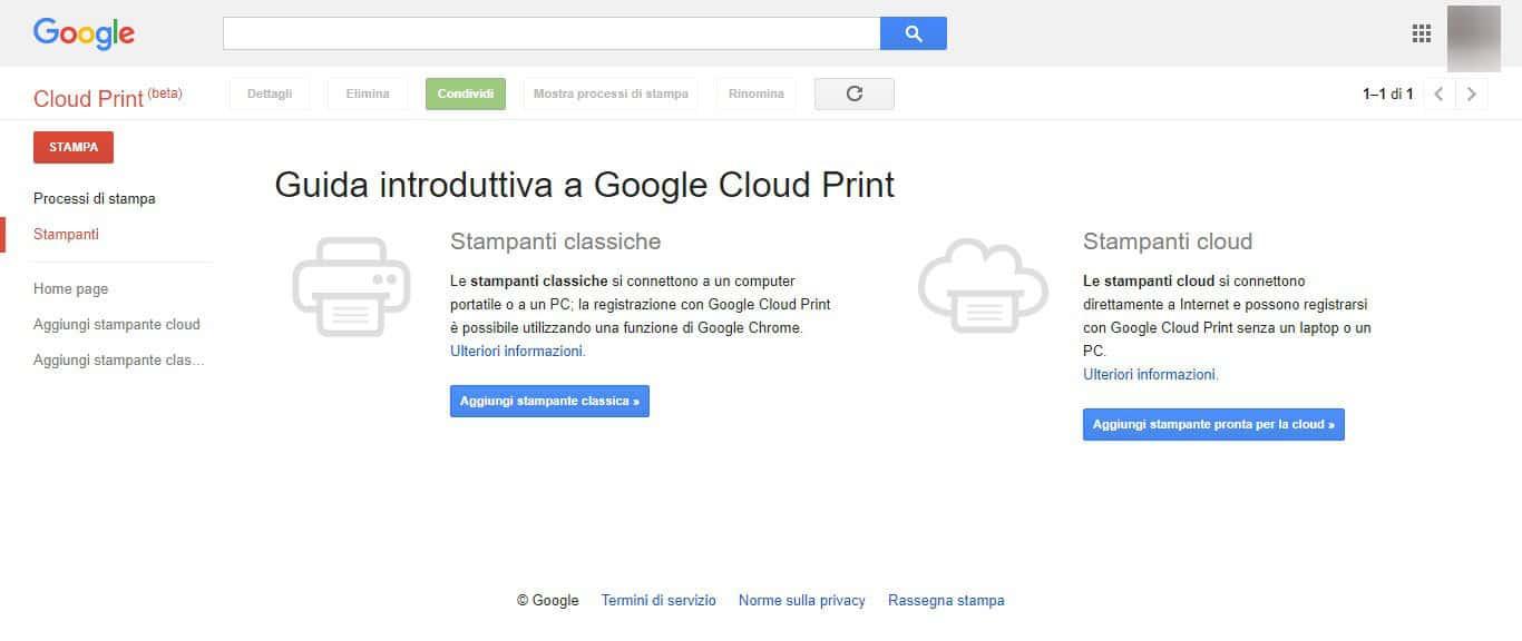 come stampare da Android Google Cloud Print