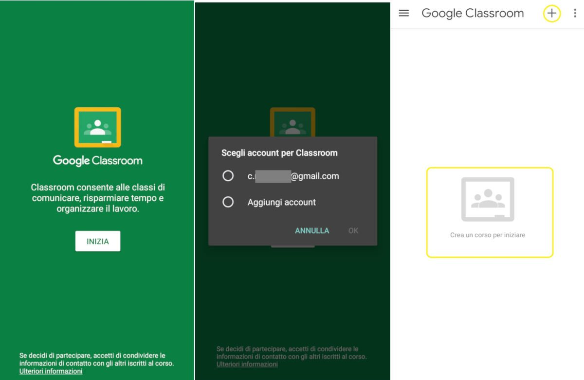 come usare Google Classroom collegamento da app iOS e Android