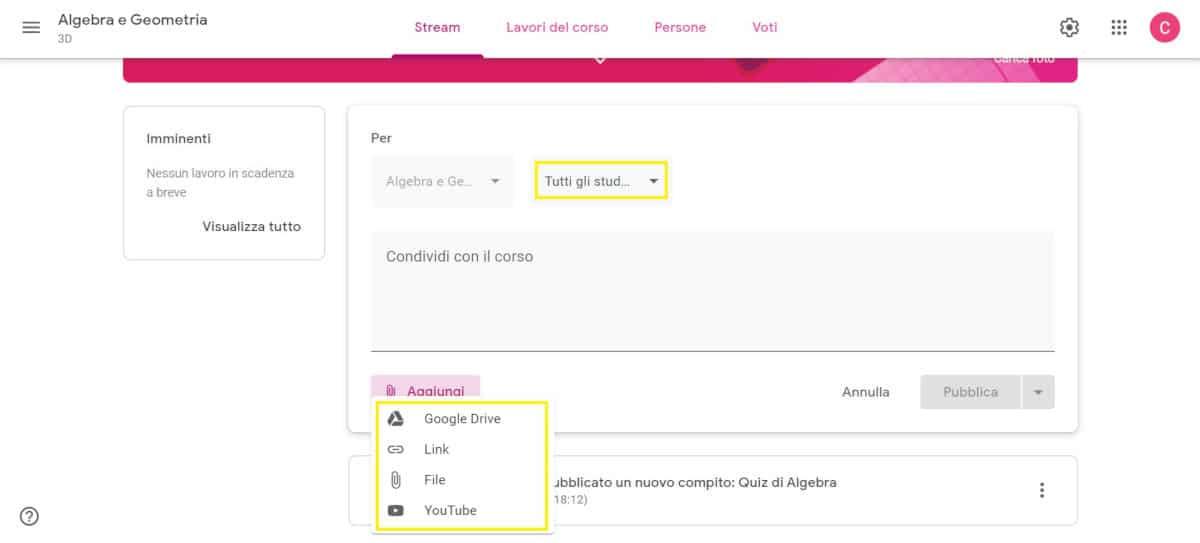 come usare Google Classroom condivisione file con alunni
