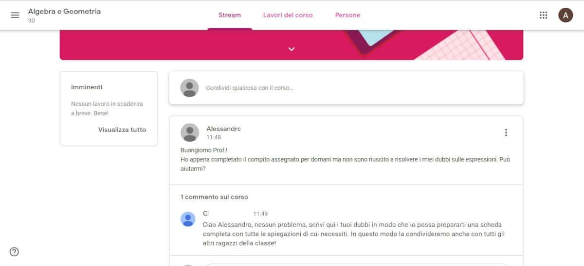 come usare Google Classroom esempio comunicazione tra studente e docente
