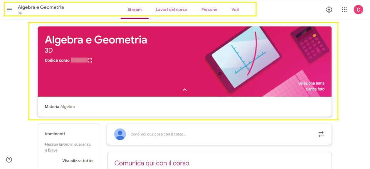 come usare Google Classroom menu di navigazione corso