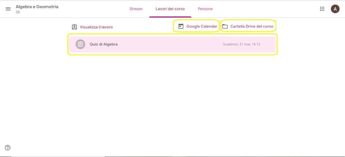 come usare Google Classroom opzioni per andamento dei compiti