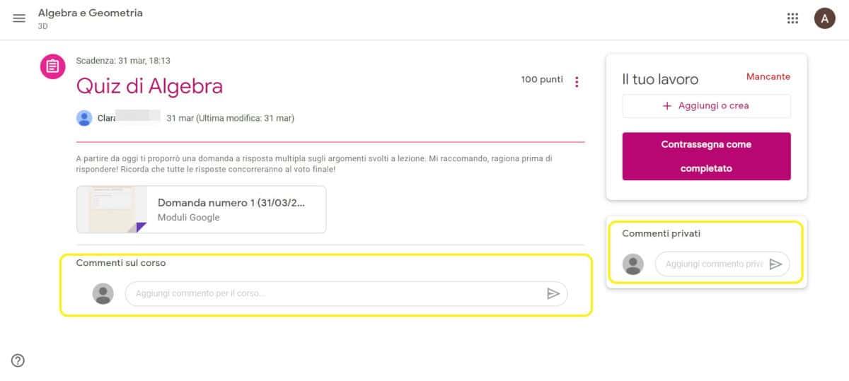 come usare Google Classroom sezione Commenti