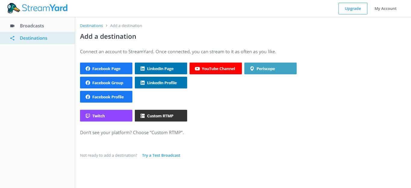 come usare StreamYard collegamento account social
