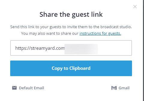 come usare StreamYard collegamento per ospiti