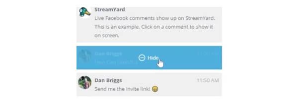 come usare StreamYard nascondi commento