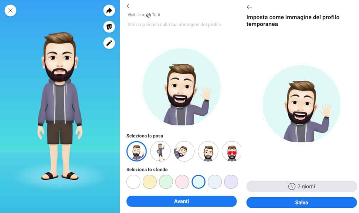 come creare un avatar su Facebook condivisione immagine profilo