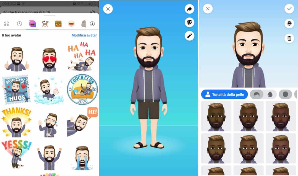 come creare un avatar su Facebook modifica