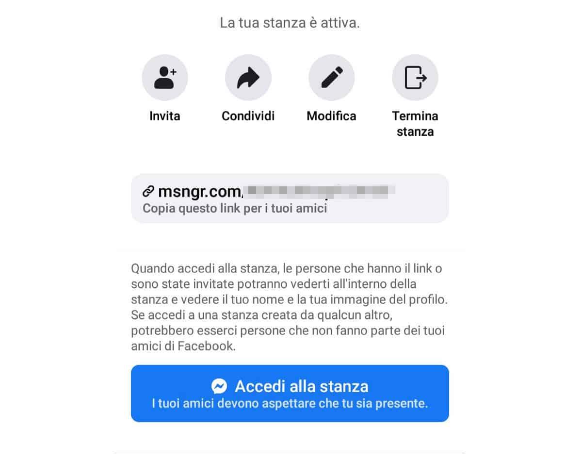 come creare una stanza su Facebook Messenger opzioni di condivisione e modifica