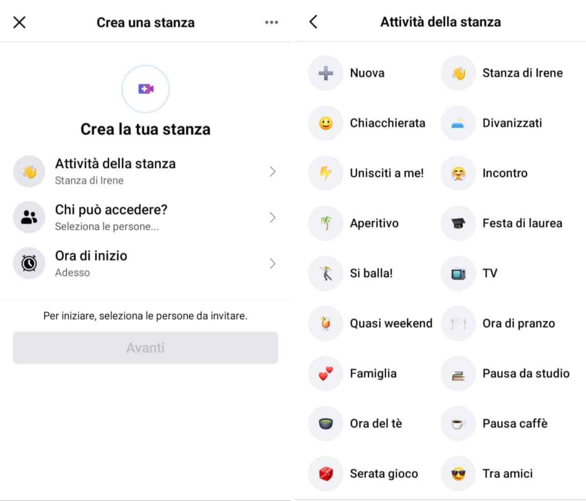 come creare una stanza su Facebook Messenger scelta attività