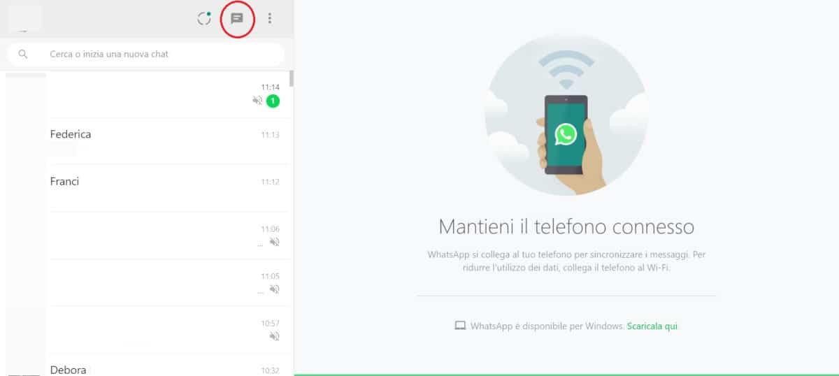 come iniziare una conversazione su WhatsApp Web