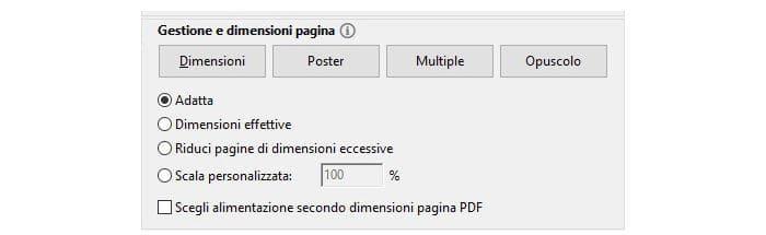 come stampare un file PDF dimensioni pagina Acrobat Reader