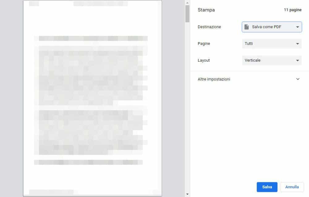 come stampare un file PDF virtualmente Chrome