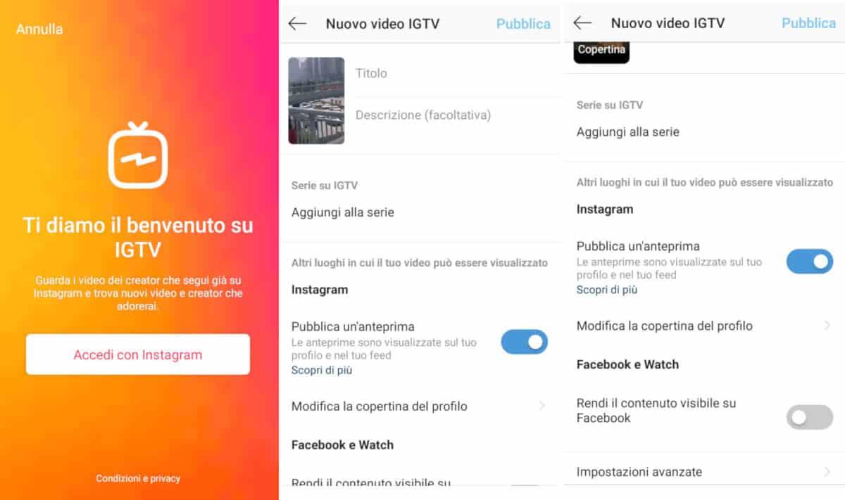 fare post lunghi su Instagram caricamento da app IGTV