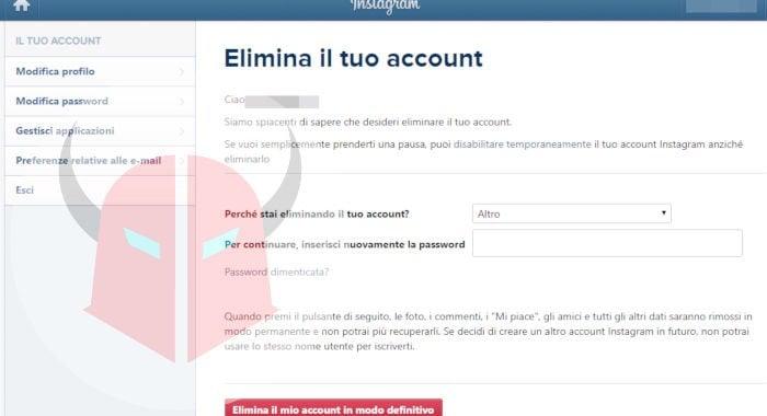come eliminare un secondo profilo Instagram da Web