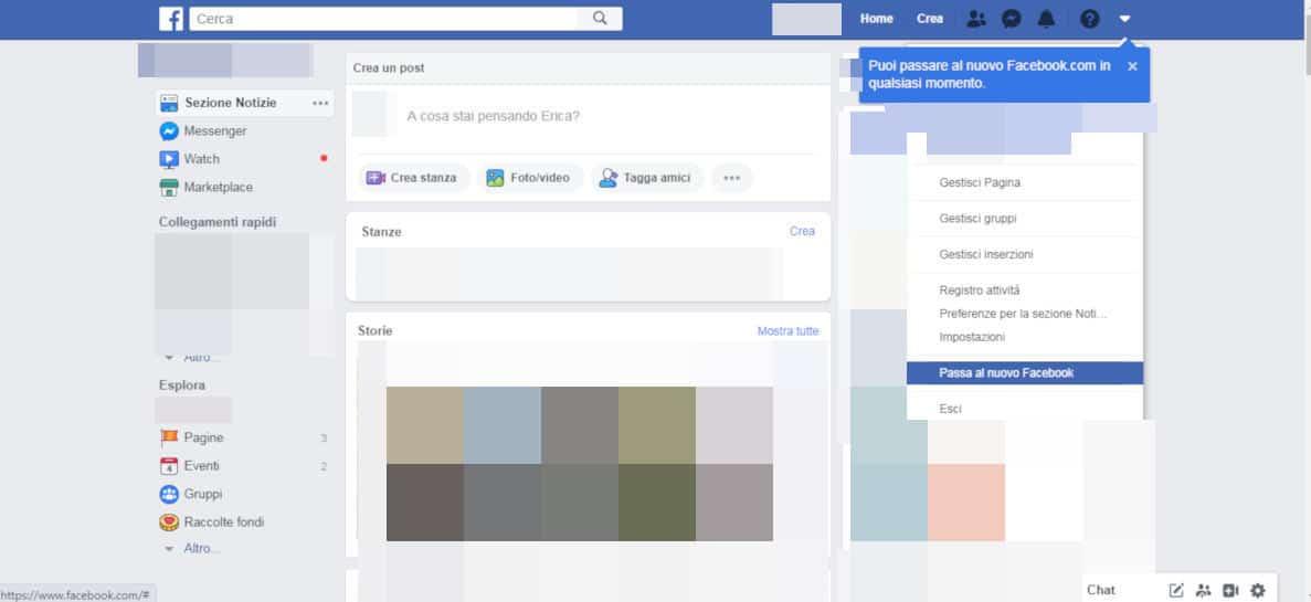 come mettere Facebook nero attivazione tema material