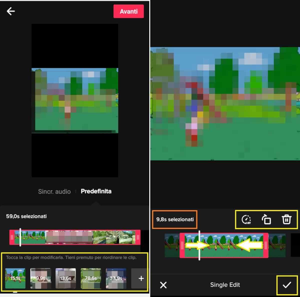 unire video TikTok regolazione fotogrammi